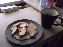 Protein pancake with a chocolate tahini sauce and apples